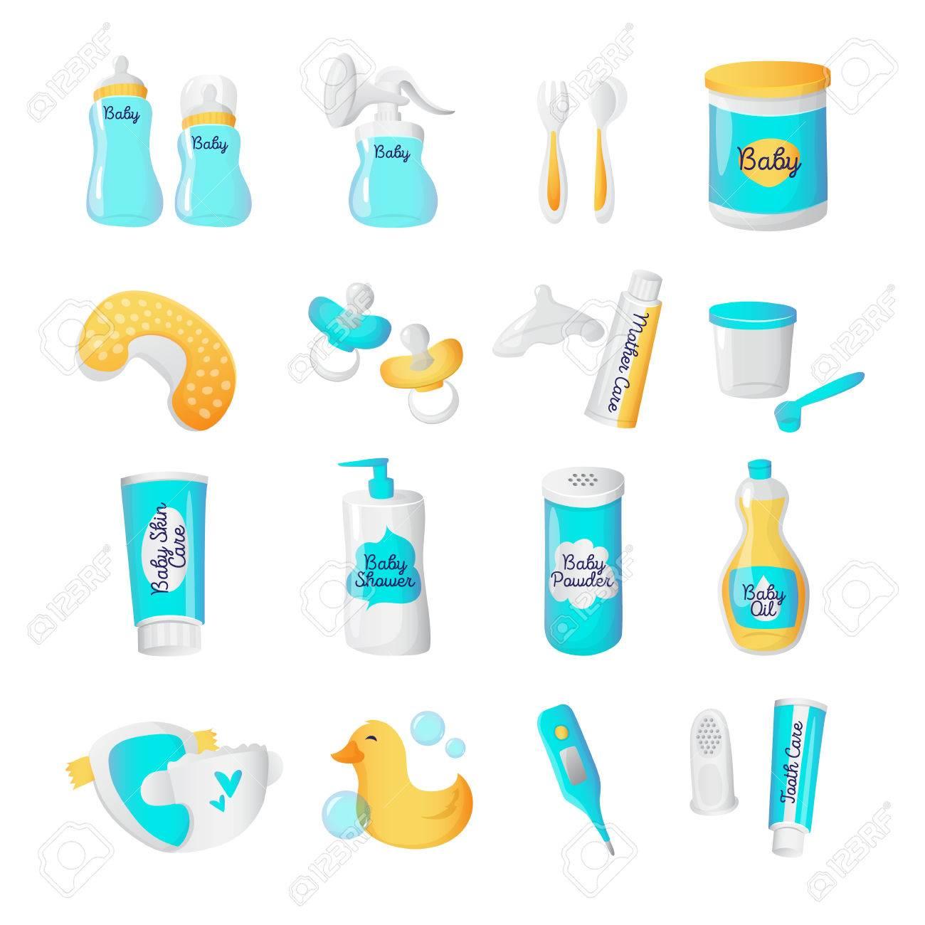 589fa692a Accesorios para bebés colección de iconos. programar un estilo de dibujos  animados objetos recién nacidos