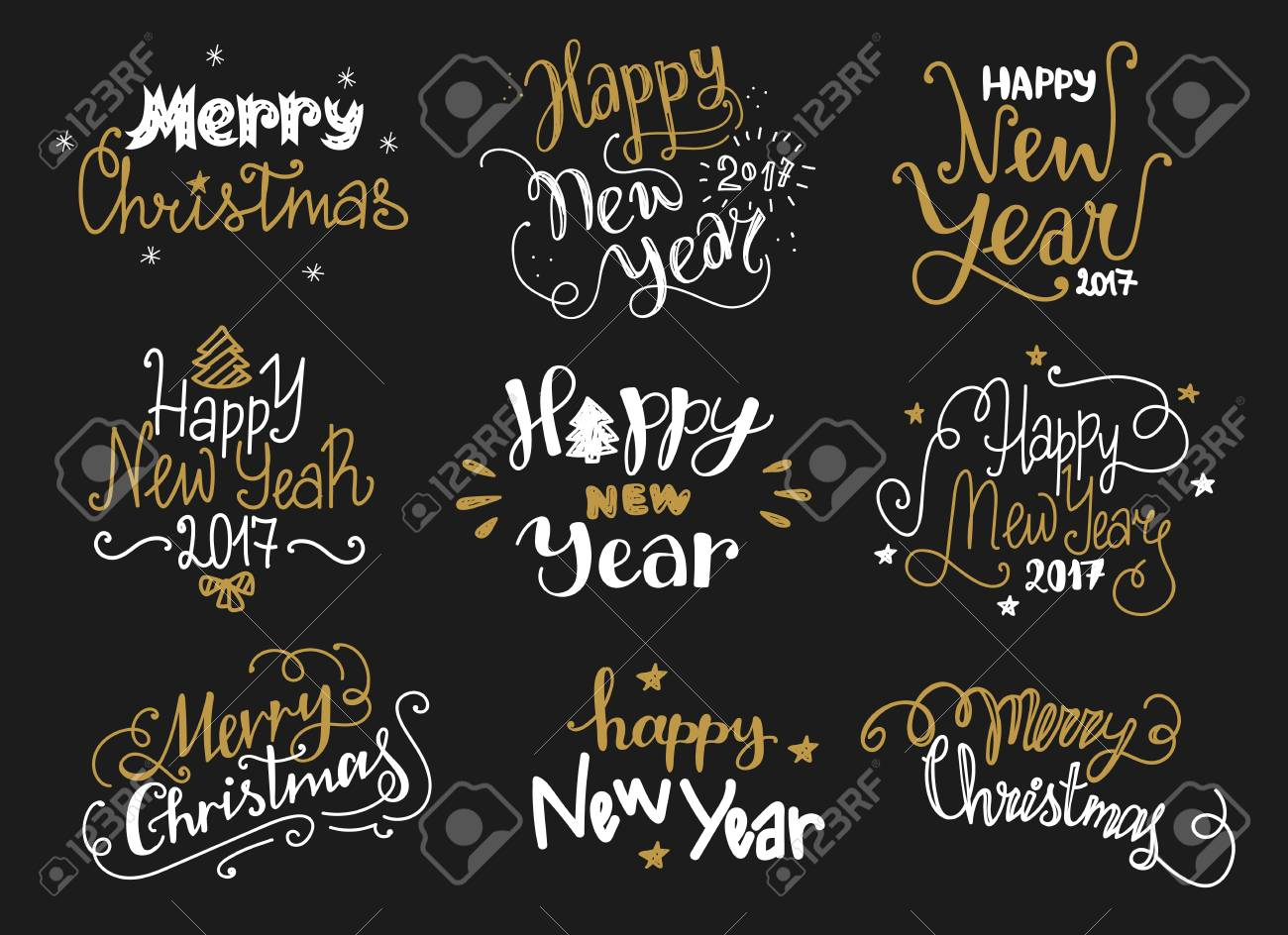 Happy new year and merry christmas golden hand drawn lettering holiday chalkboard greetings text happy new year and merry christmas golden hand drawn lettering labels in funny style holiday m4hsunfo