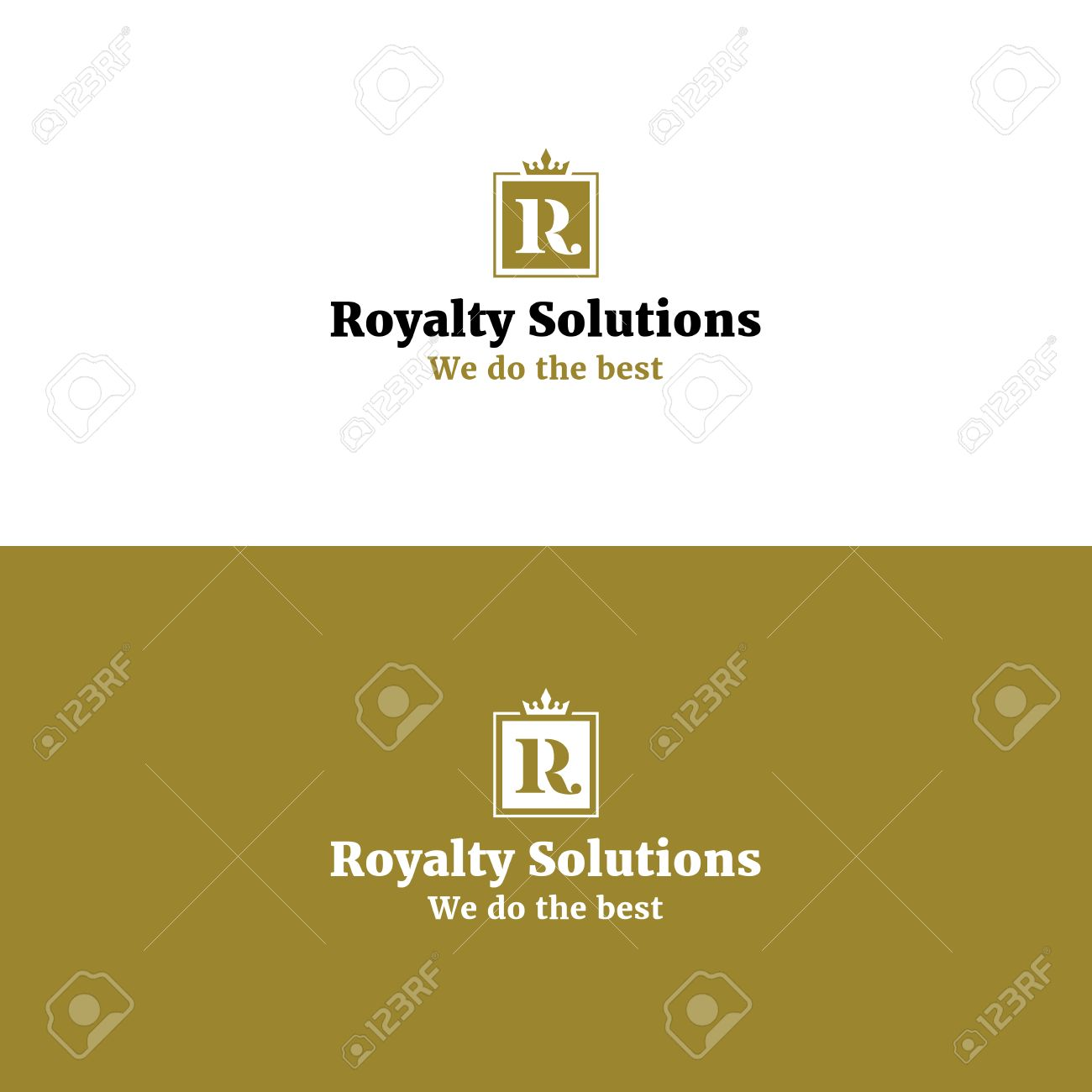 Royal Abstract R Letter Logo With Crown Golden Color Luxurious
