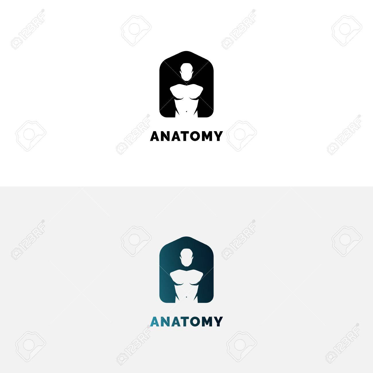 Anatomy Logo With Human Torso. Negative Space A Letter Logo. Royalty ...