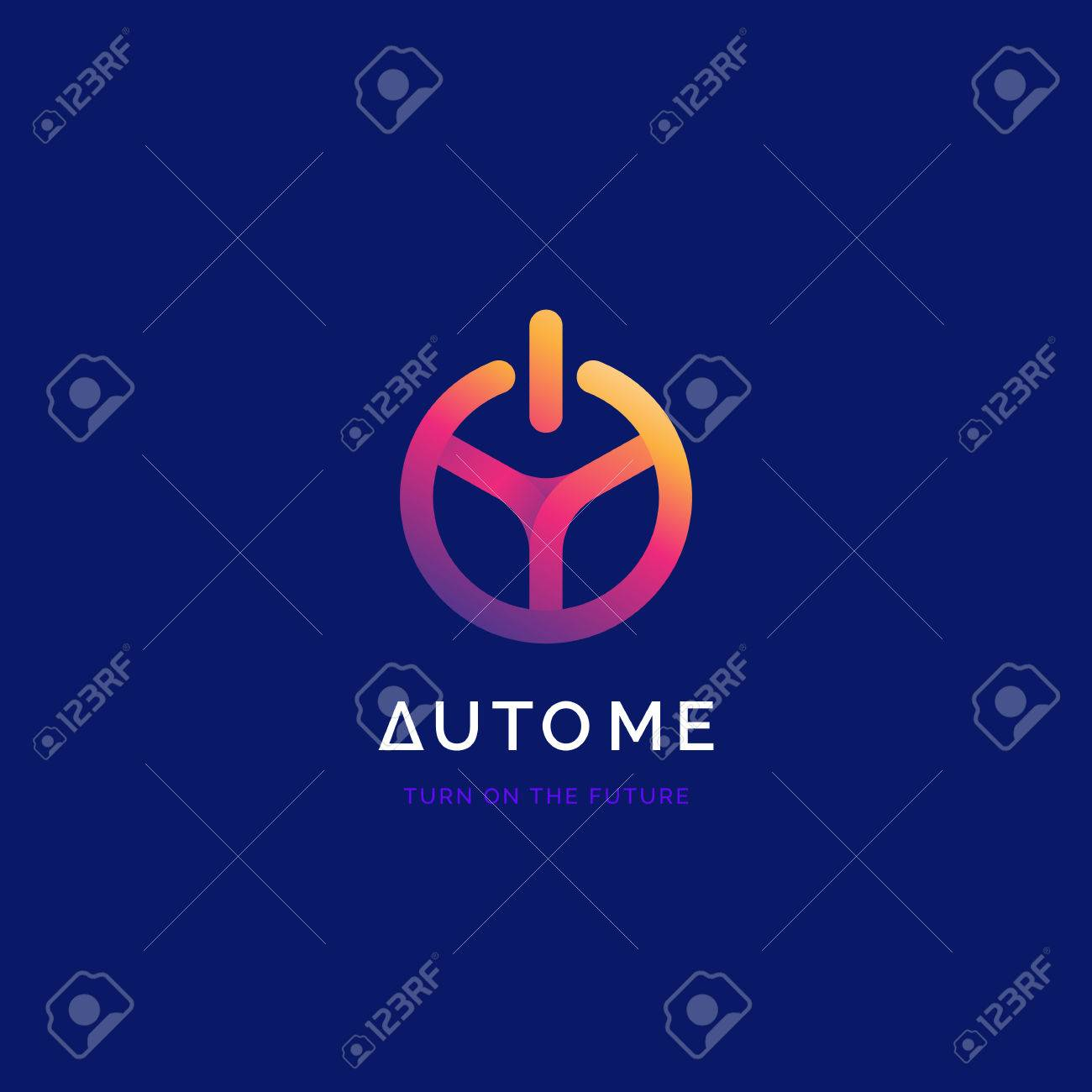 Steering Wheel With Power Button Logo Driverless Car Symbol