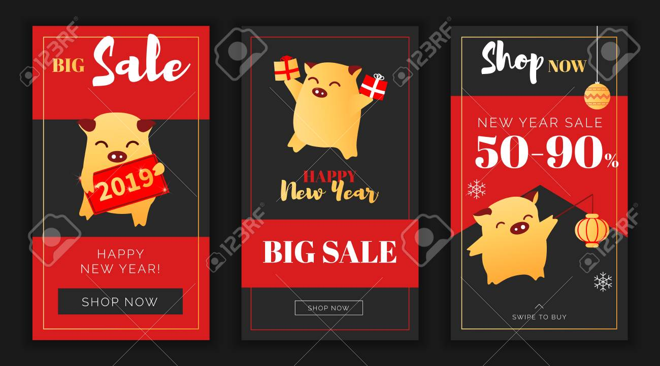 Modern Flat New Year Big Sales App Screen Or Instagram Template