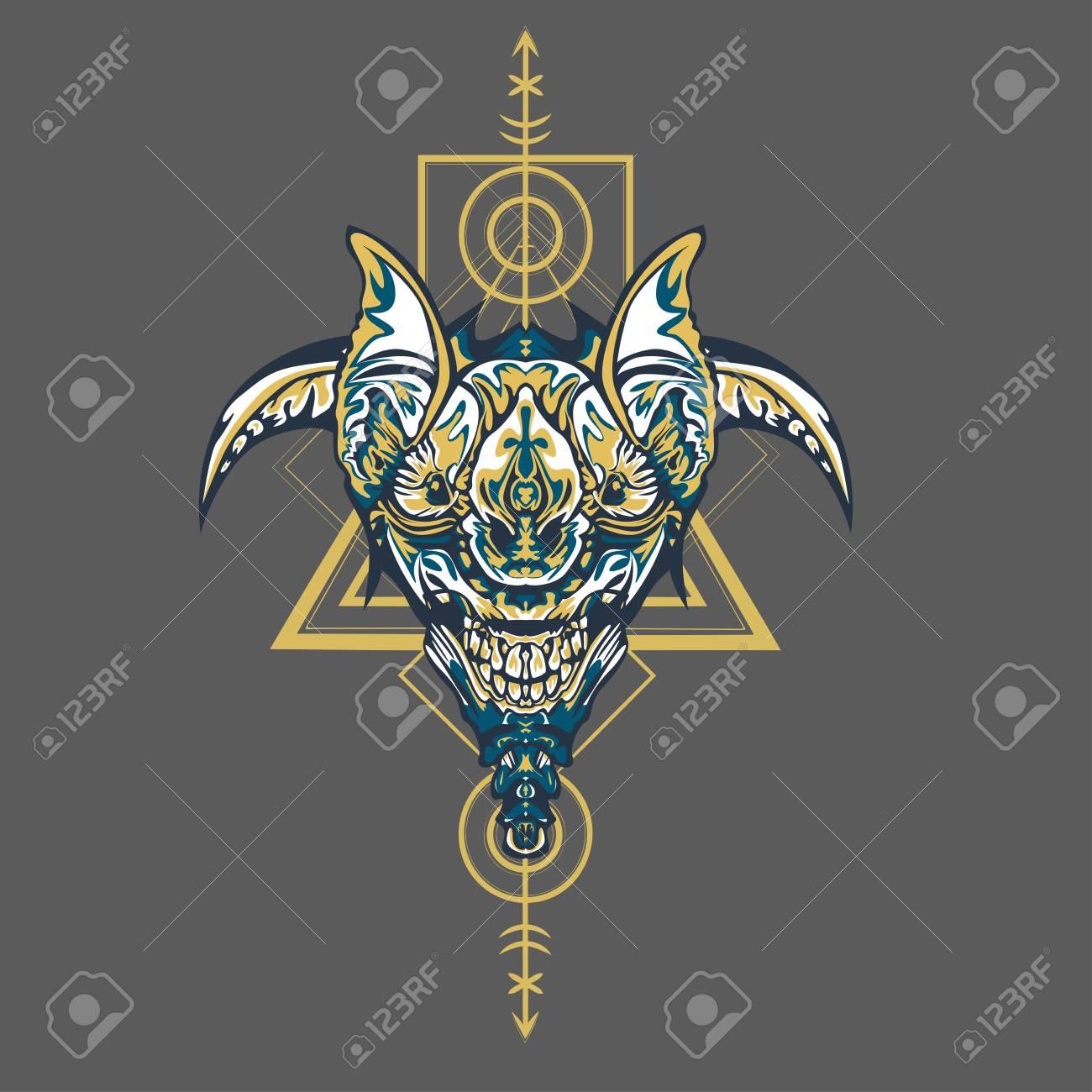 Vector illustration. robot sacred geometry. For t-shirt design, poster, sticker. Line Style. - Vector - 122401653