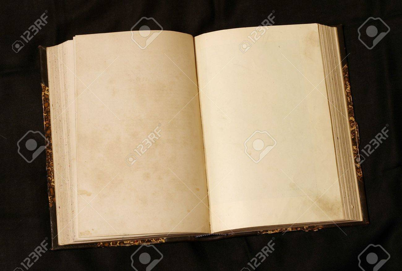 Old 19th century book open on both blank pages with stains and scratches. Stock Photo - 232254