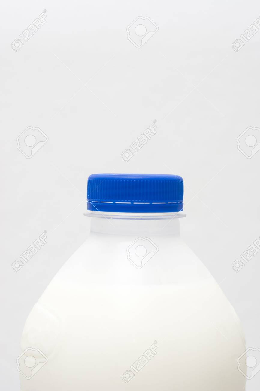 milk bottle with copy space, blue cap Stock Photo - 7003363