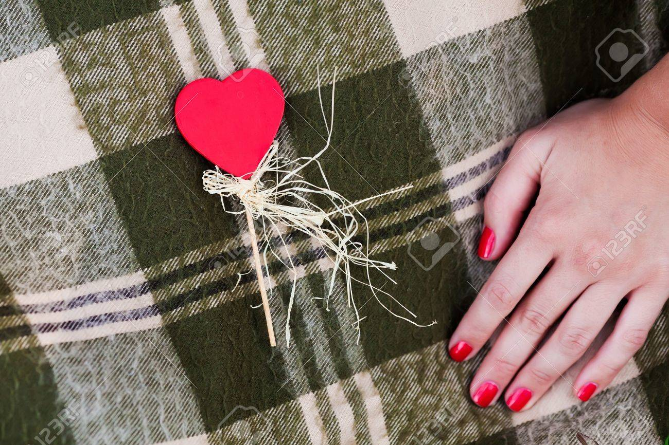 """WomanРІР'в""""ўs hand and red heart-shaped candy on the checked plaid Stock Photo - 16933651"""