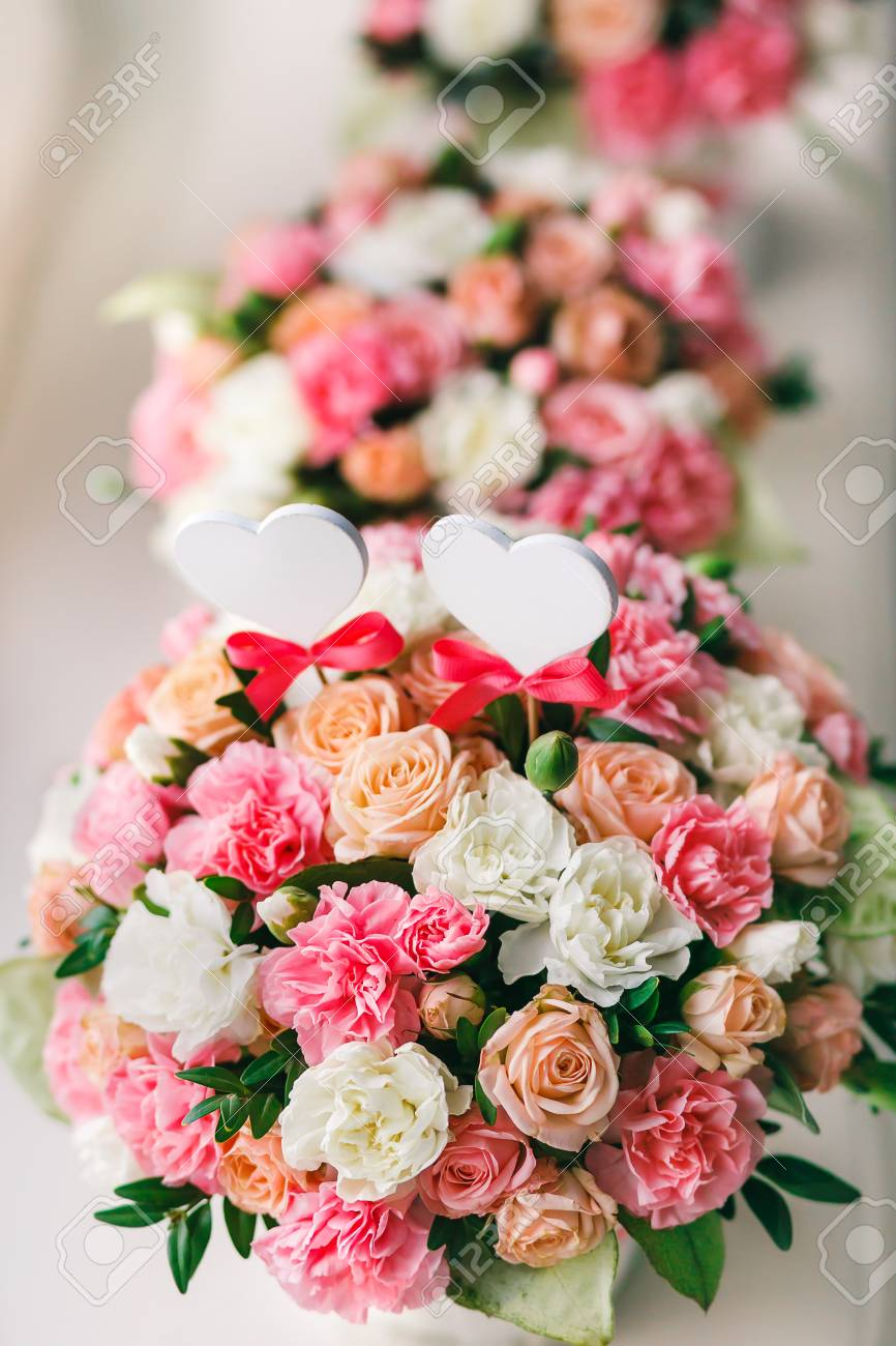 Flower Arrangement Of White And Pink Roses At The Windowsill