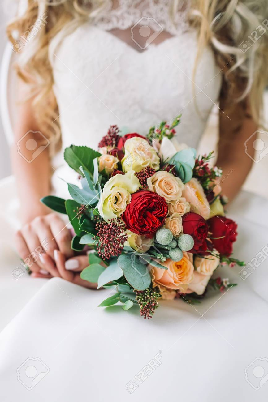 Bride Holds A Bunch Of Flowers Beautiful Bridal Bouquet With