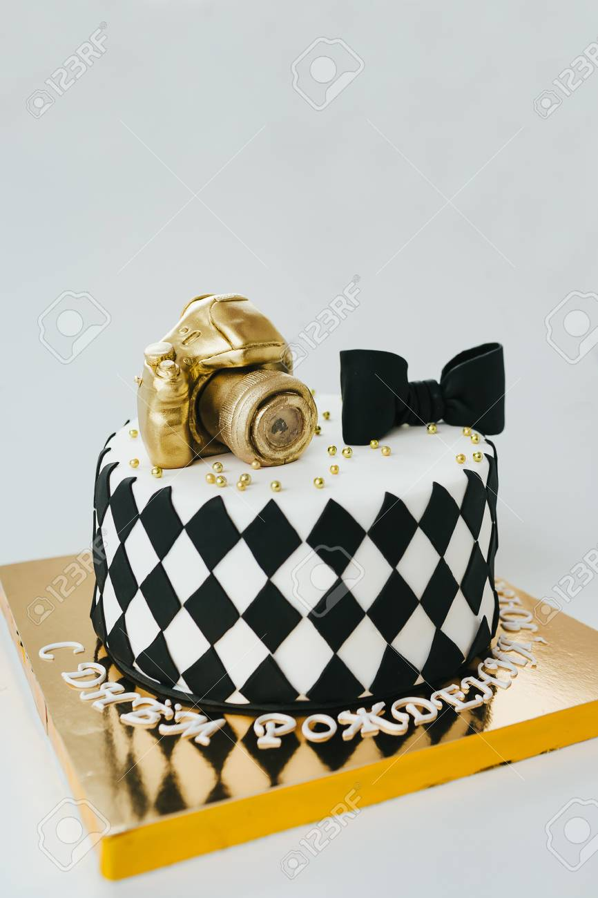 Peachy Black And White Birthday Cake For Photographer On White Background Funny Birthday Cards Online Alyptdamsfinfo