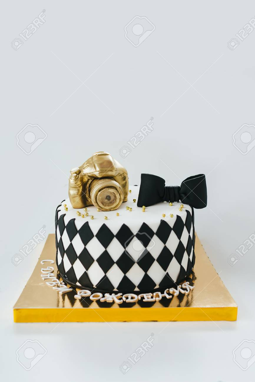 Outstanding Black And White Birthday Cake For Photographer On White Background Birthday Cards Printable Trancafe Filternl