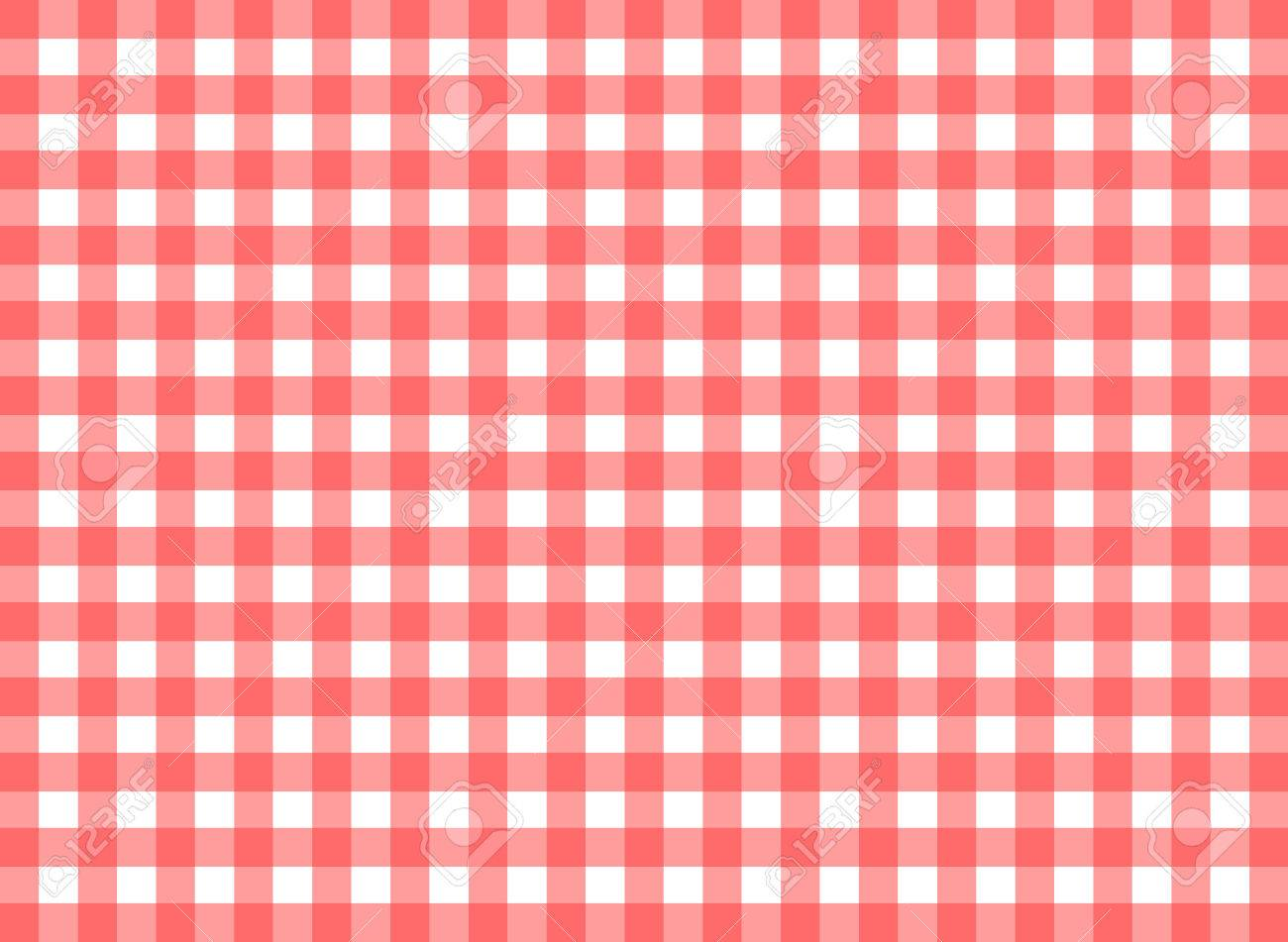 Easy Tilable Red Gingham Repeat Pattern Print Seamless Background Wallpaper With Fabric Texture Visible