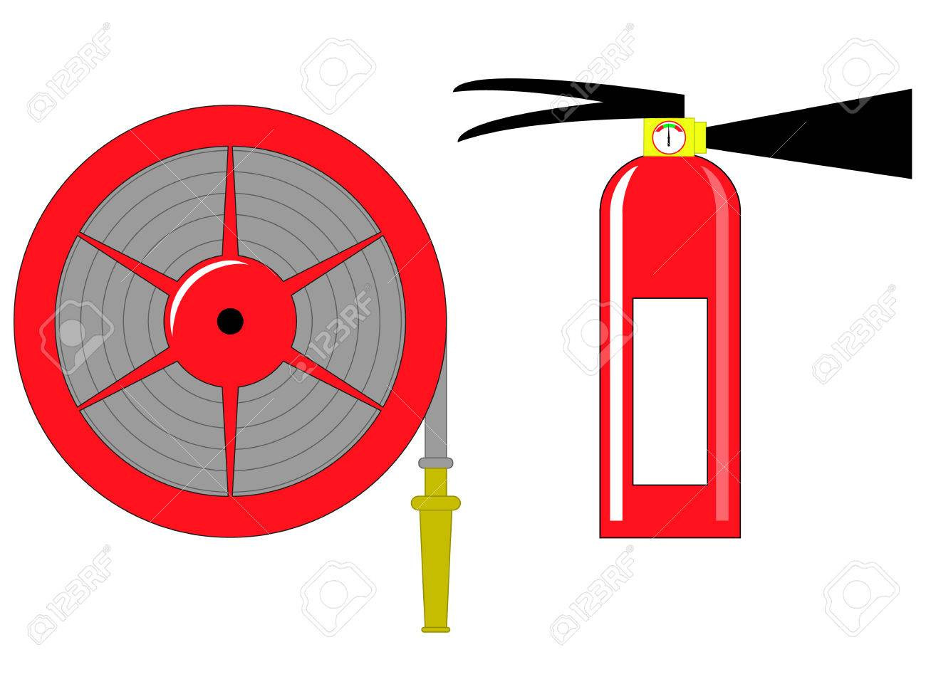 fire hose reel and extinguishing vector illustration eps 10 royalty rh 123rf com fire hose clipart black and white fire hose clipart