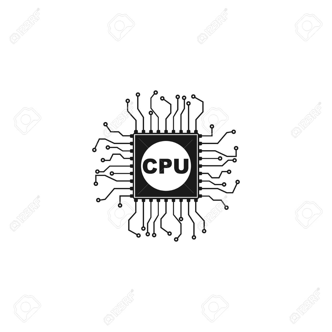 Circuit Board Icon. Technology Scheme Square Symbol. Royalty Free ...