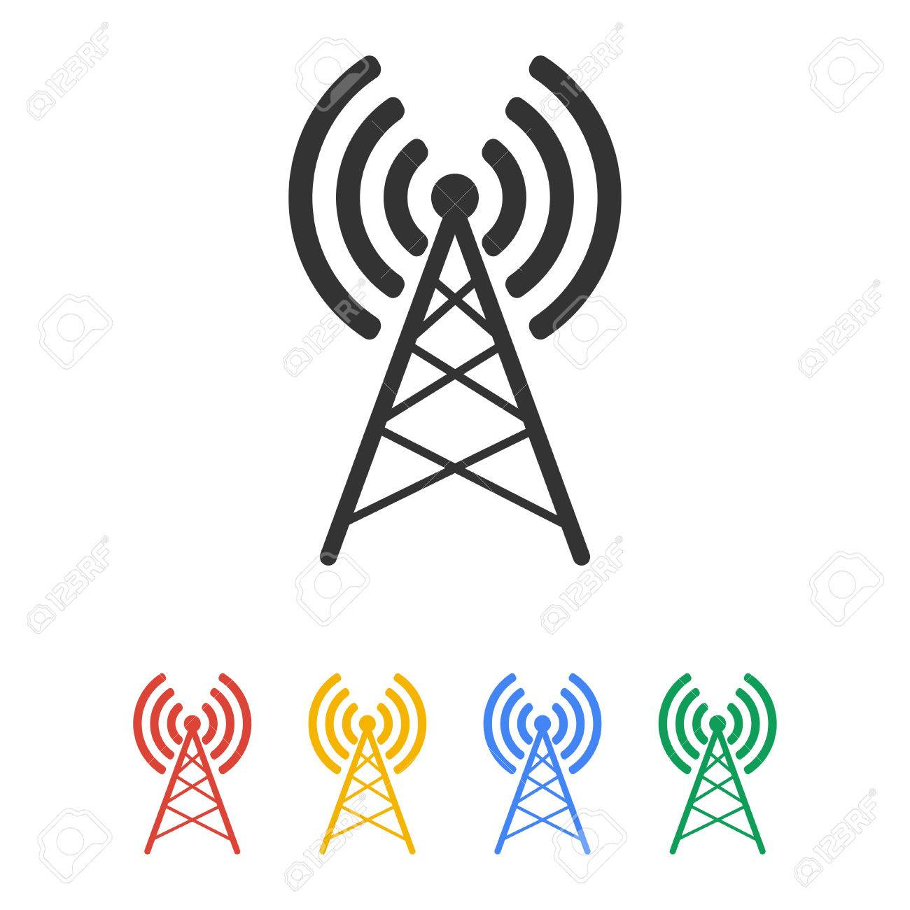 Antenna Icon, Vector Flat Illustration EPS 10 Royalty Free Cliparts ...