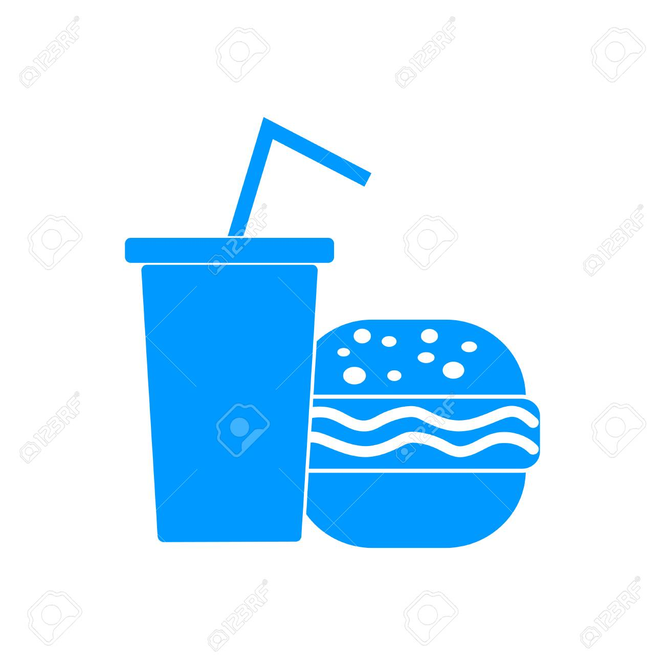 Burger And Paper Cup With A Drink Symbol Of Fast Food Royalty Free