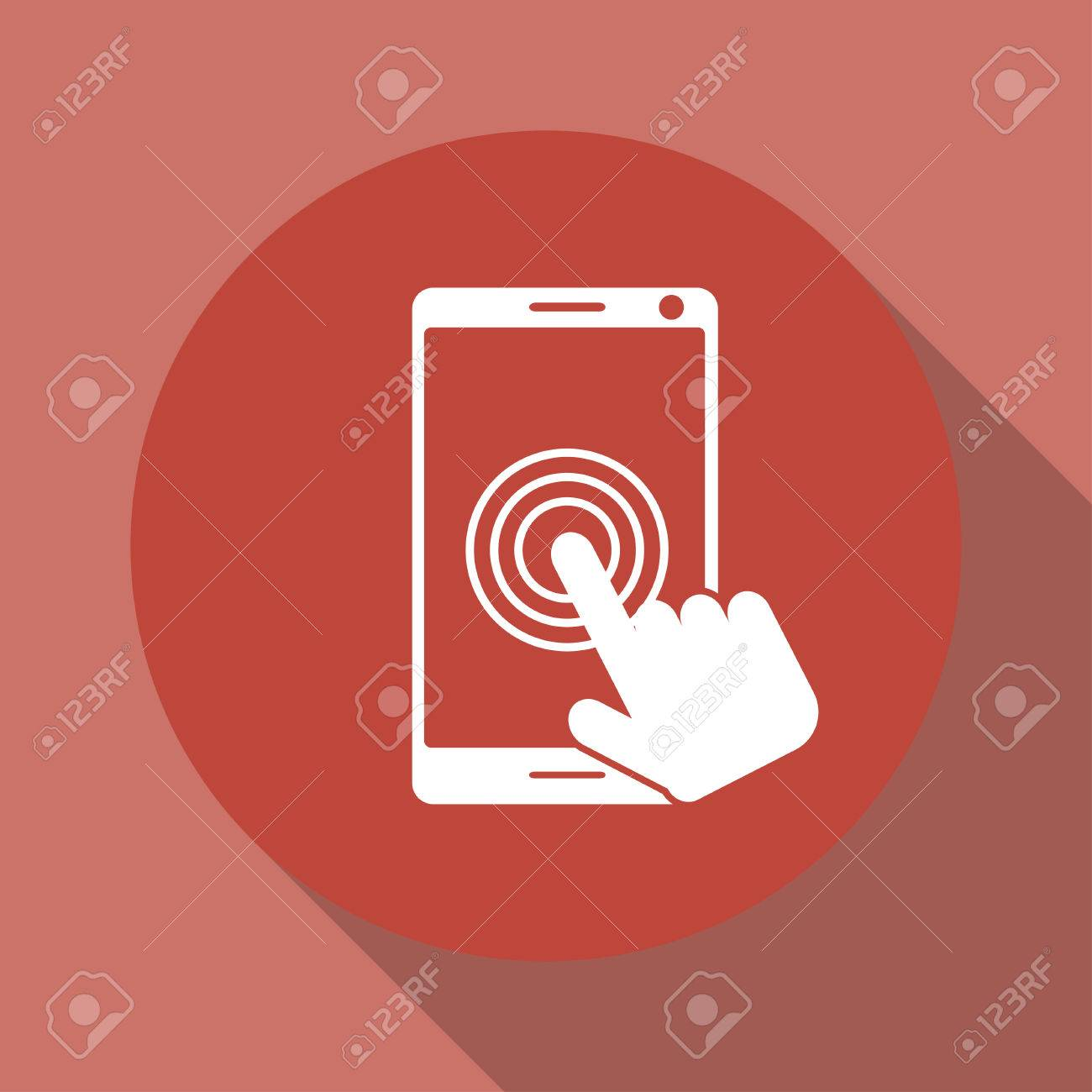 Touch screen smartphone icon. Flat design style - 52368097