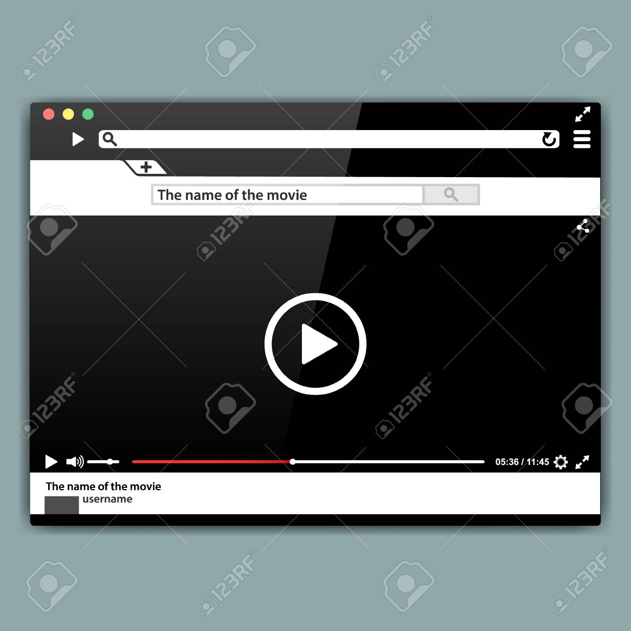 Design internet browser video player template  Modern video frame