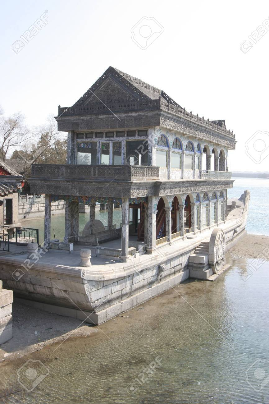 The Pagoda imperial boat on the lac - Summer Palace - Beijing - China - Panorama. Stock Photo - 2659478