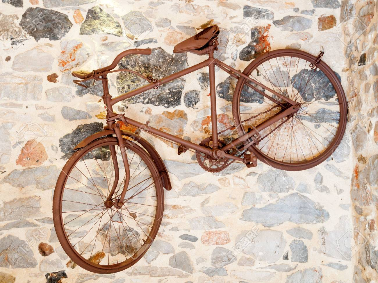 Old Bicycle Like Decoration On The Wall Stock Photo, Picture And