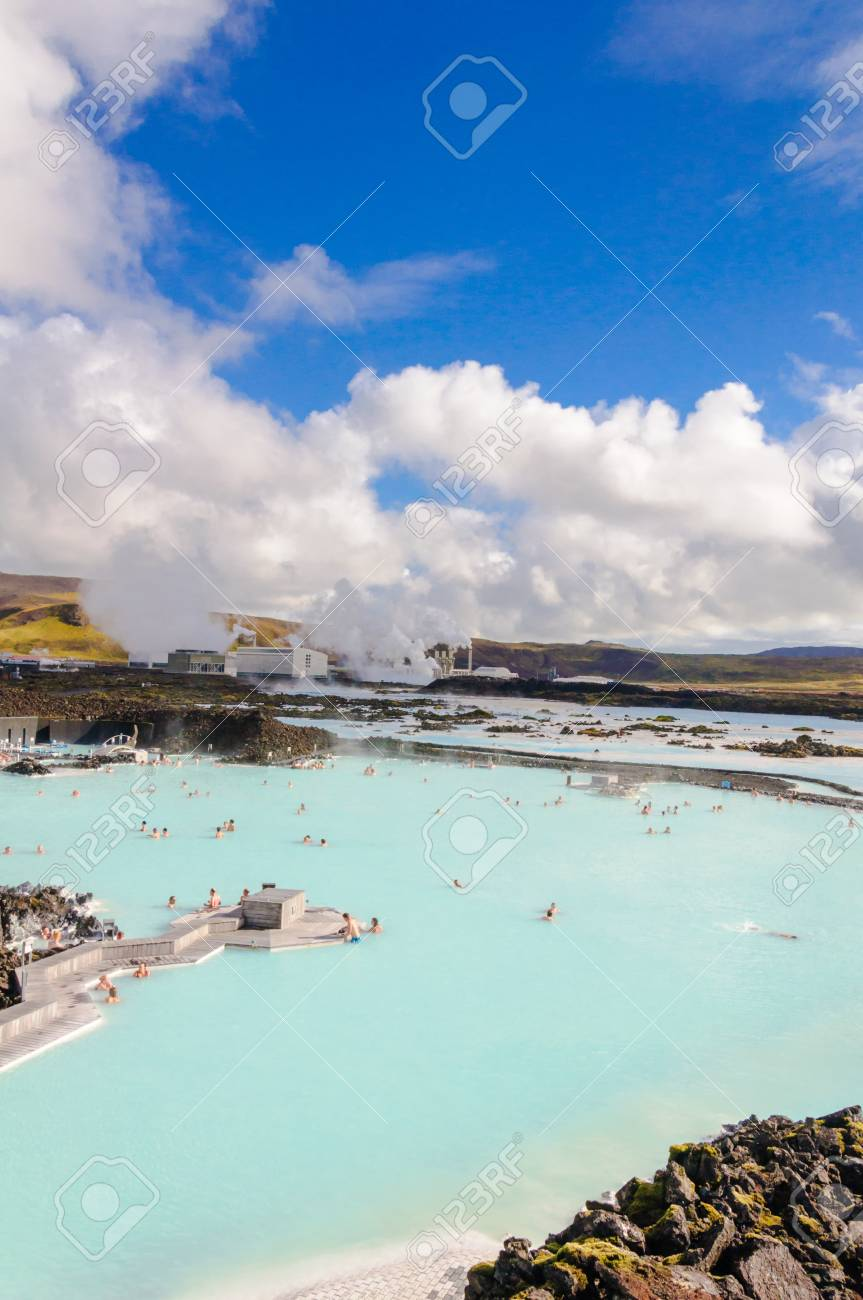 Blue Lagoon - famous Icelandic spa and Geothermal Power plant  panoramic picture  Stock Photo - 26558723