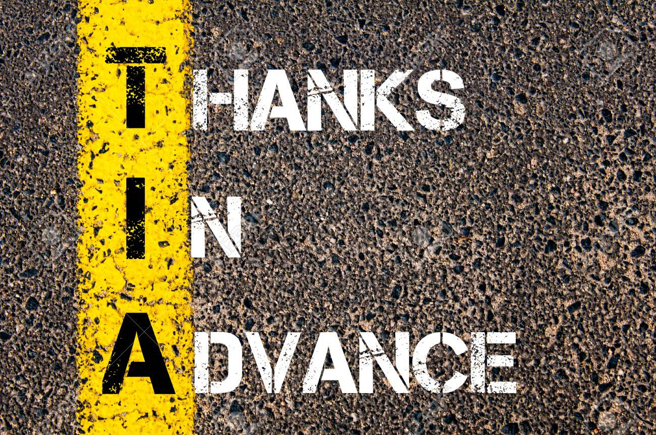 a66eb1e2529 Business Acronym TIA as THANKS IN ADVANCE.Yellow paint line..