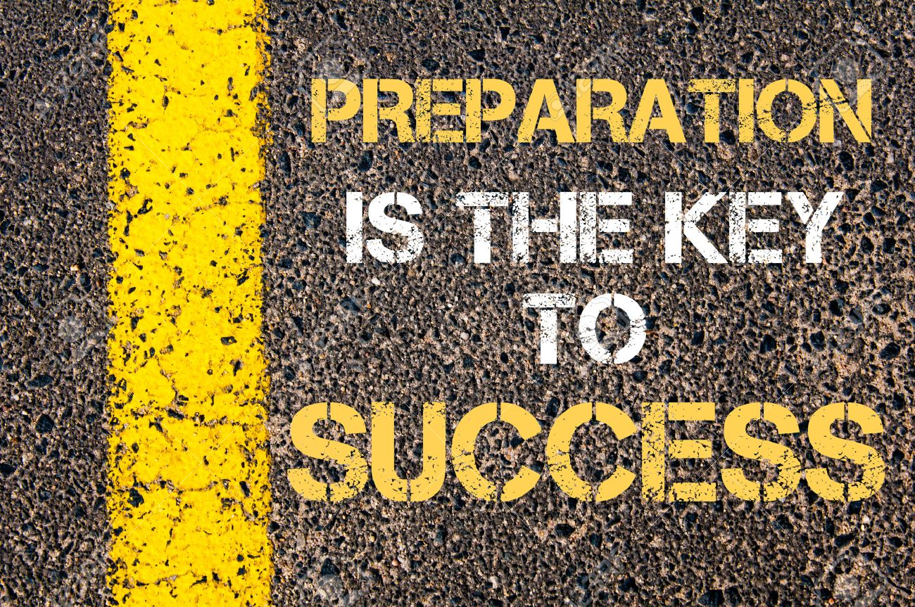 preparation is the key to success motivational quote yellow preparation is the key to success motivational quote yellow paint line on the road against