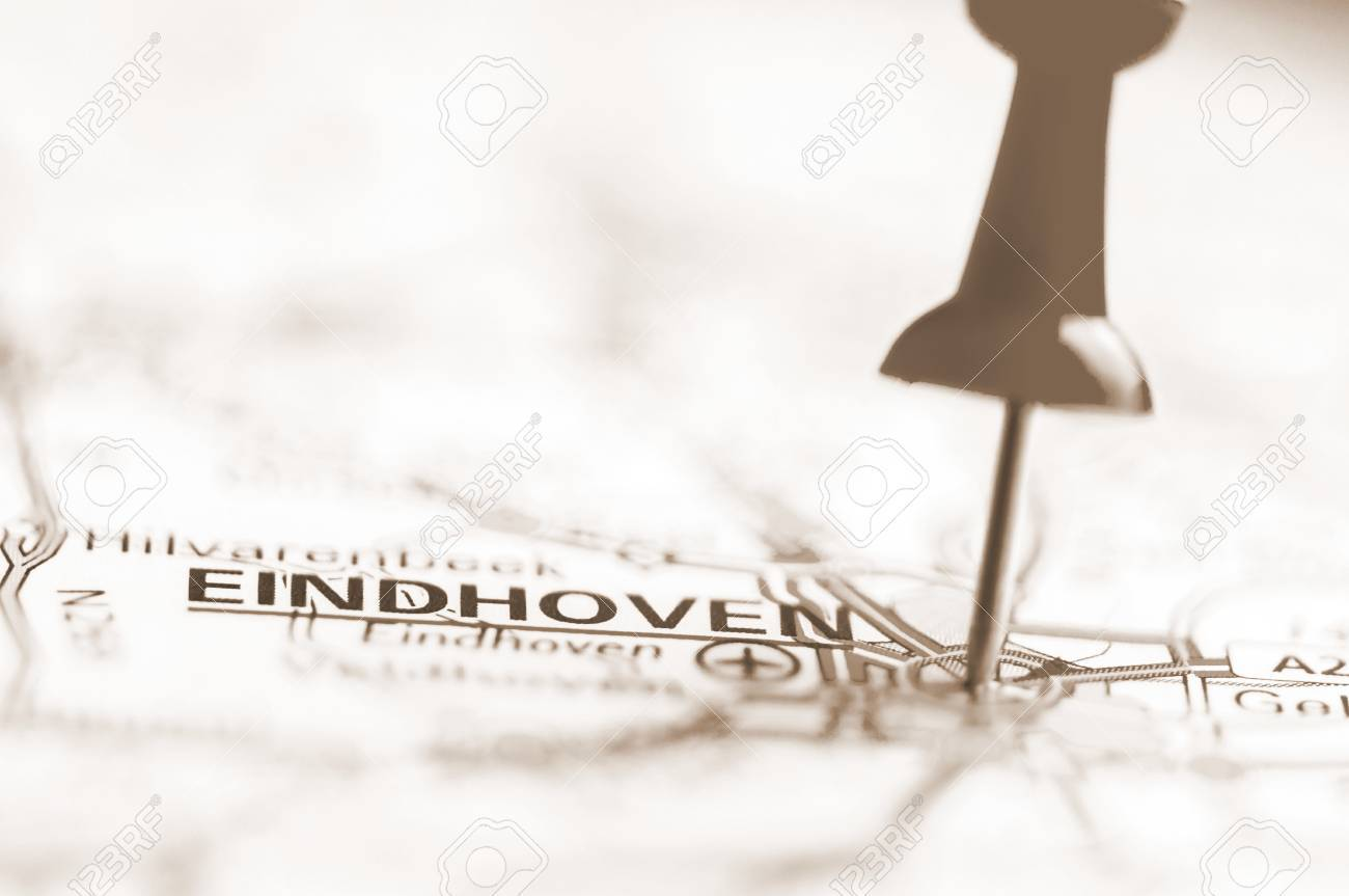 Pushpin Showing Eindhoven City On Map, Netherlands With Vintage ...