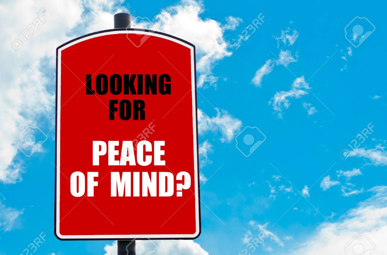 Looking For Peace Of Mind Motivational Quote Written On Red Stock