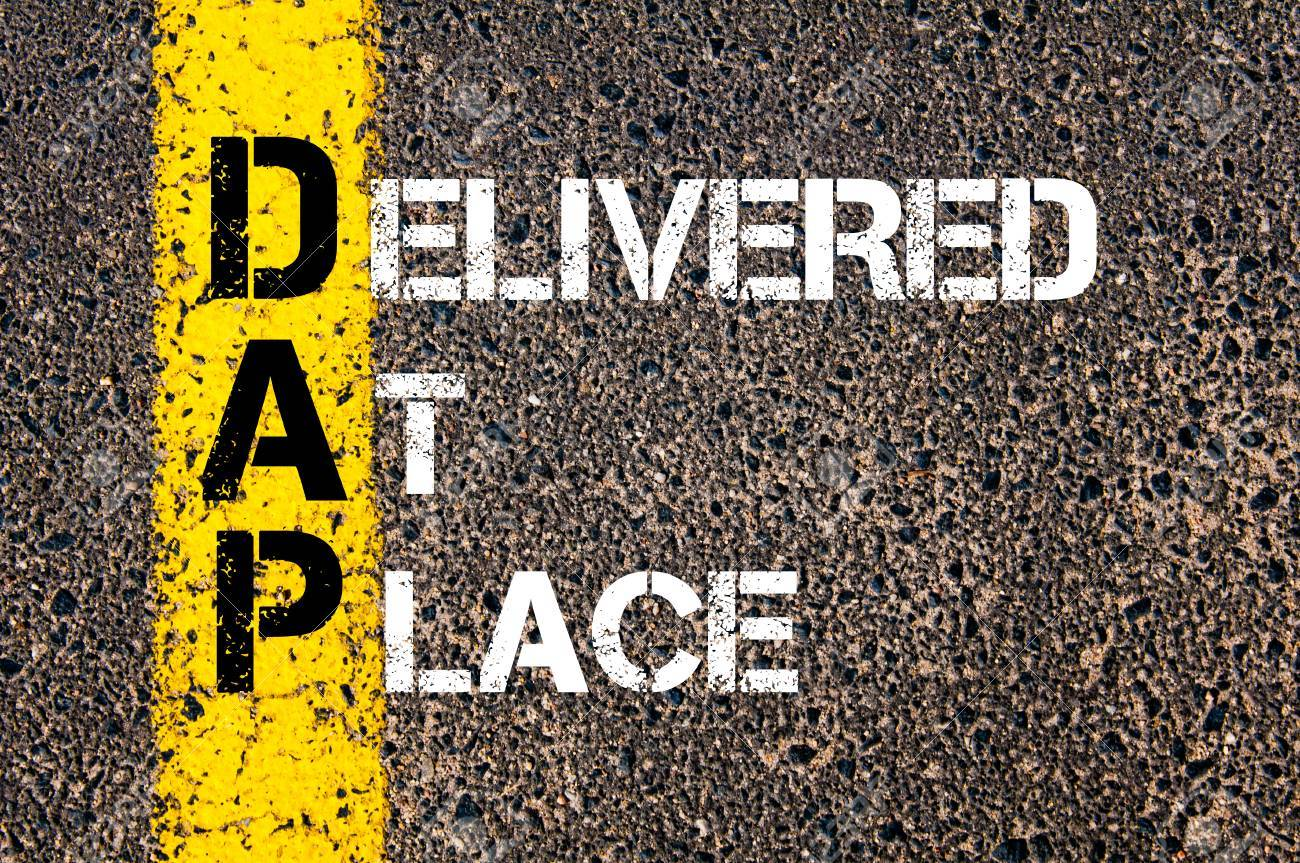 Concept image of Business Acronym DAP as Delivered At Place written