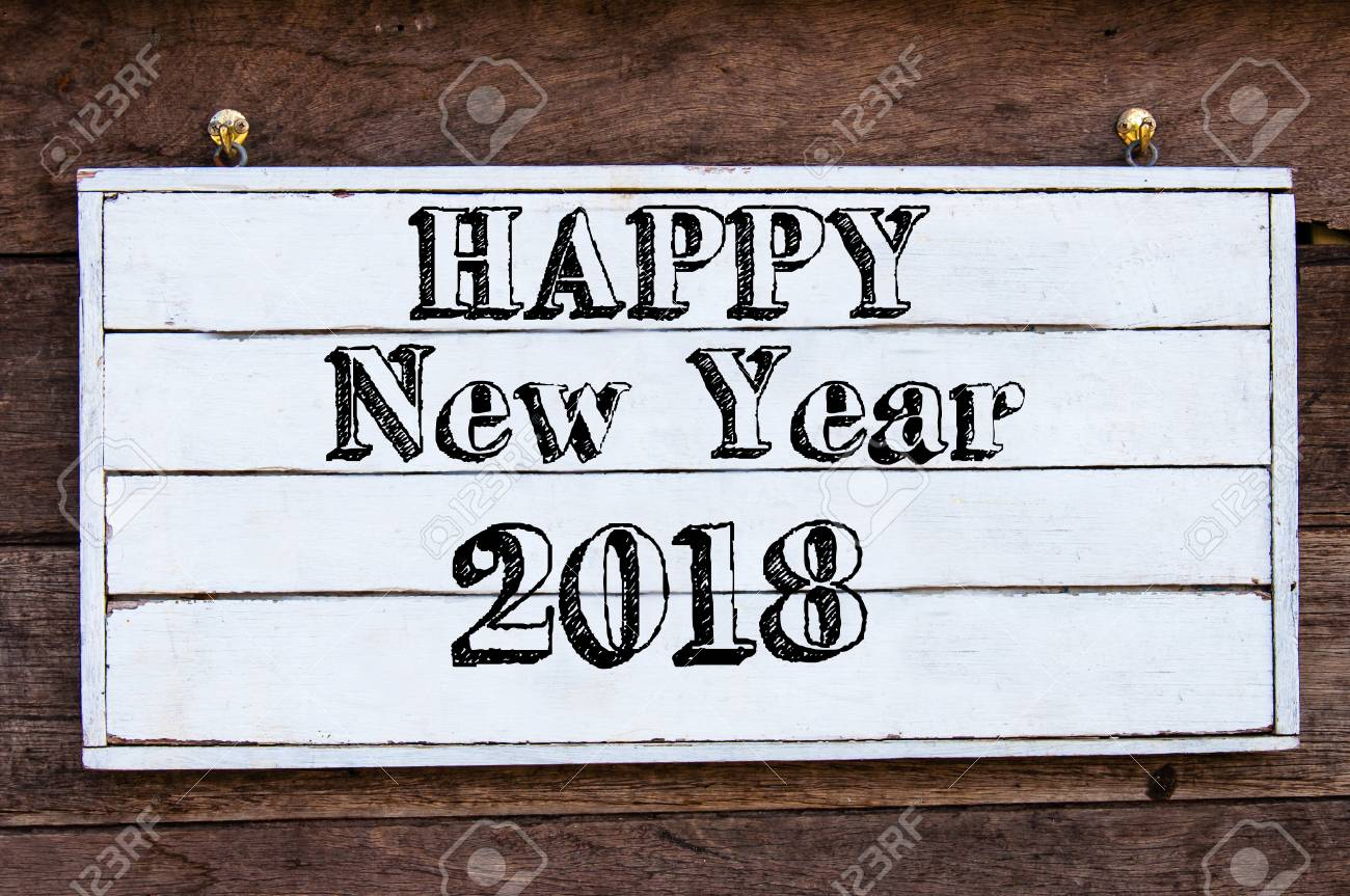 Happy New Year 2018 Inspirational Message Written On Vintage.. Stock ...