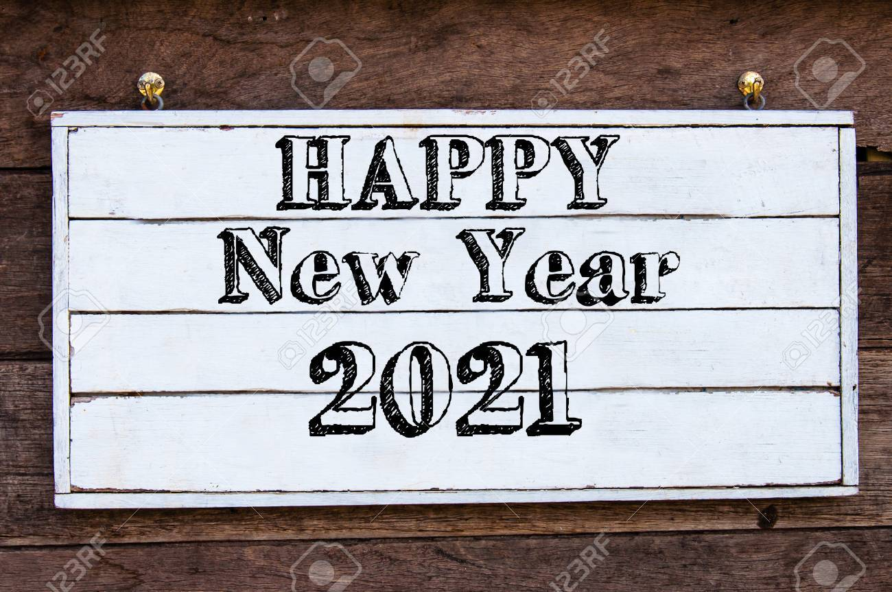 Happy New Year 2021 Inspirational Message Written On Vintage.. Stock ...