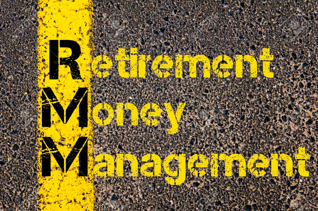 Concept image of Accounting Business Acronym RMM Retirement Money Management written over road marking yellow paint line. - 49048919