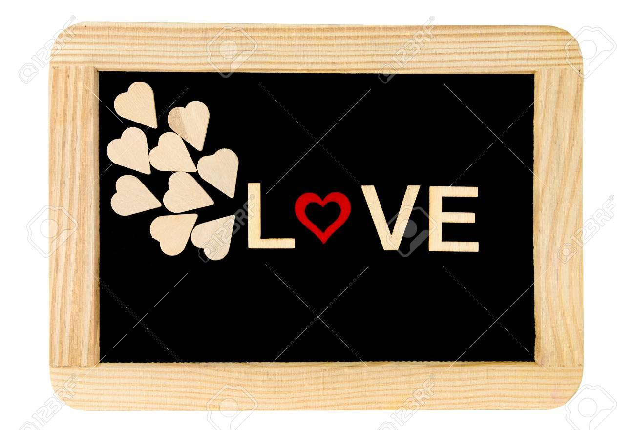 Tableau Vintage En Bois Cadre Isole Sur Blanc Avec Word Love Cree De