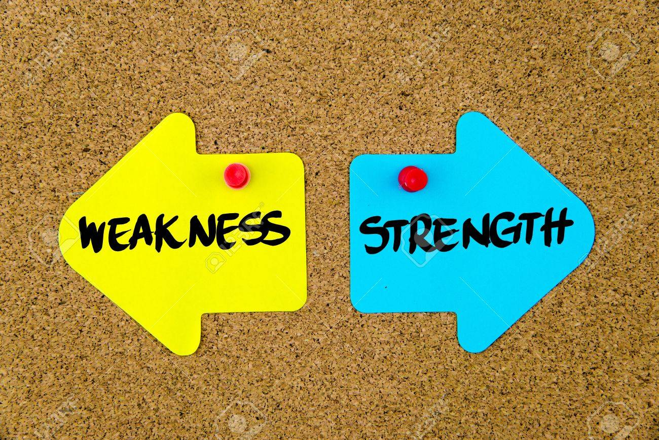 message weakness versus strength on yellow and blue paper notes message weakness versus strength on yellow and blue paper notes as opposite arrows pinned on cork