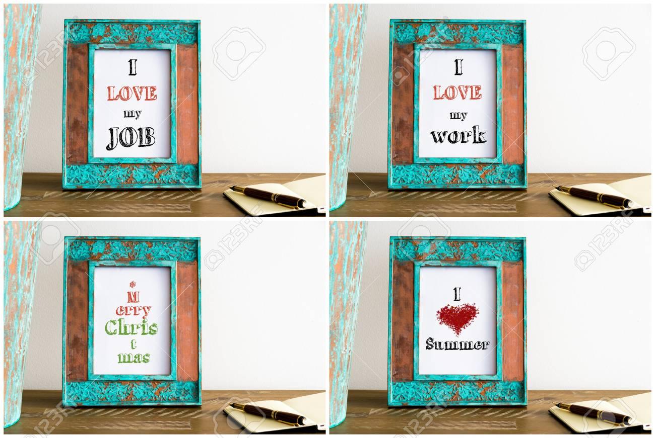 Collage Aus Fotorahmen Mit Verschiedenen Motivations Texten. Vintage ...