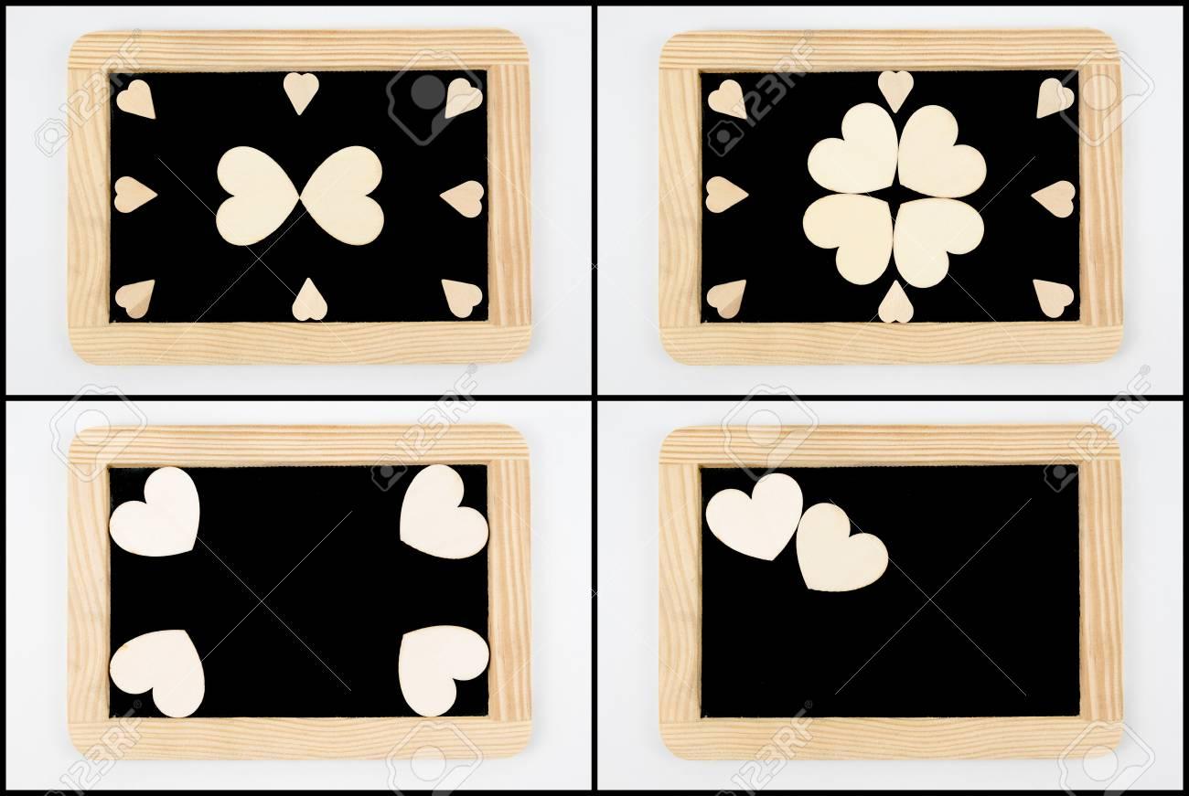 Foto-Collage Von Vintage-Kreidetafeln Mit Holzrahmen Isoliert Auf ...