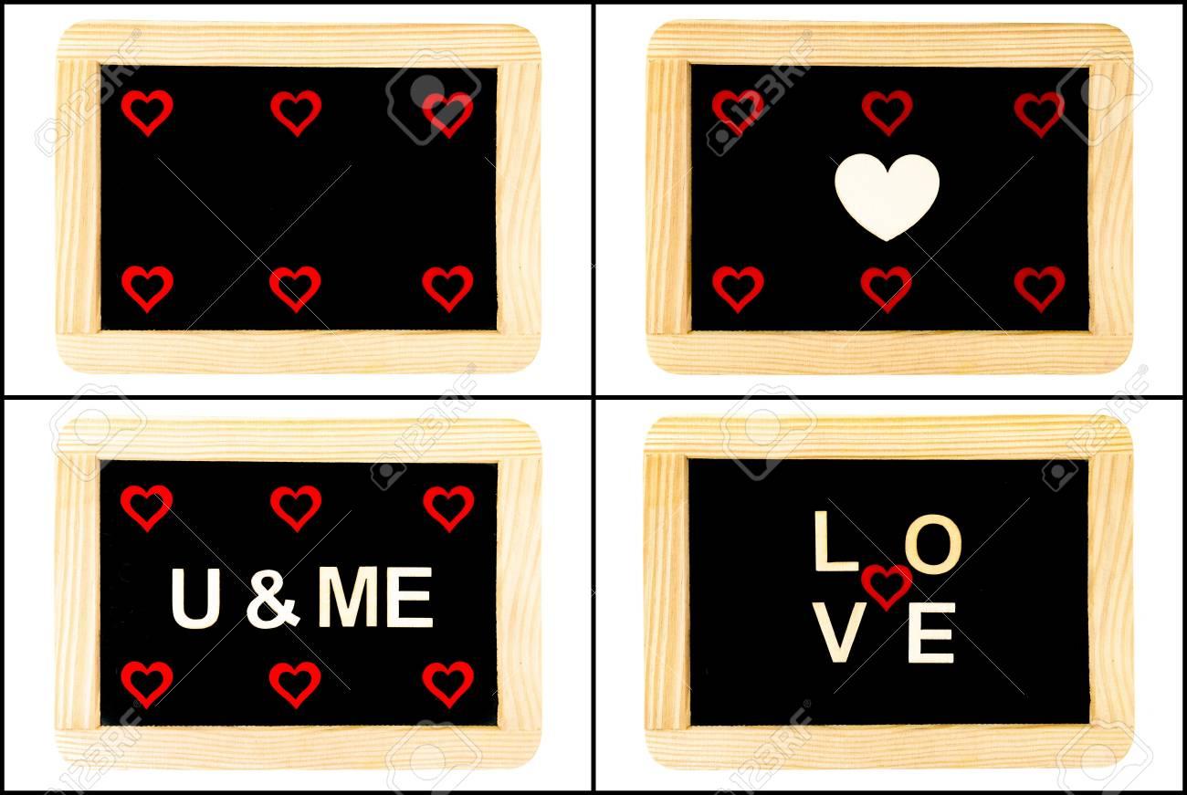 Foto Collage Von Vintage Chalkboards Mit Roten Herzen Und Wort Liebe ...