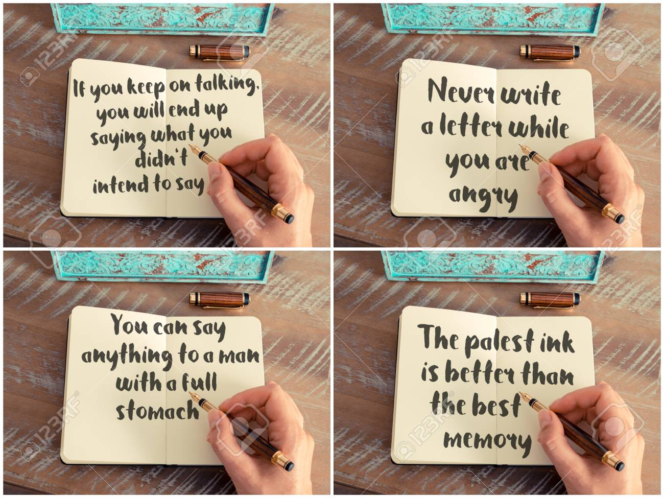 Photo collage of inspirational concept images, woman hand writing..
