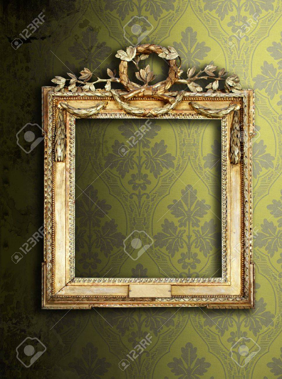 gold ornate frames retro wallpaper stock photo 6533583