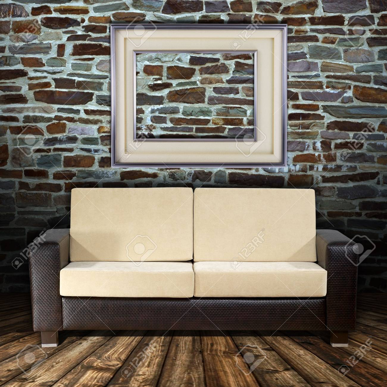 Old Styled Interior with golden frames and sofa Stock Photo - 6805555