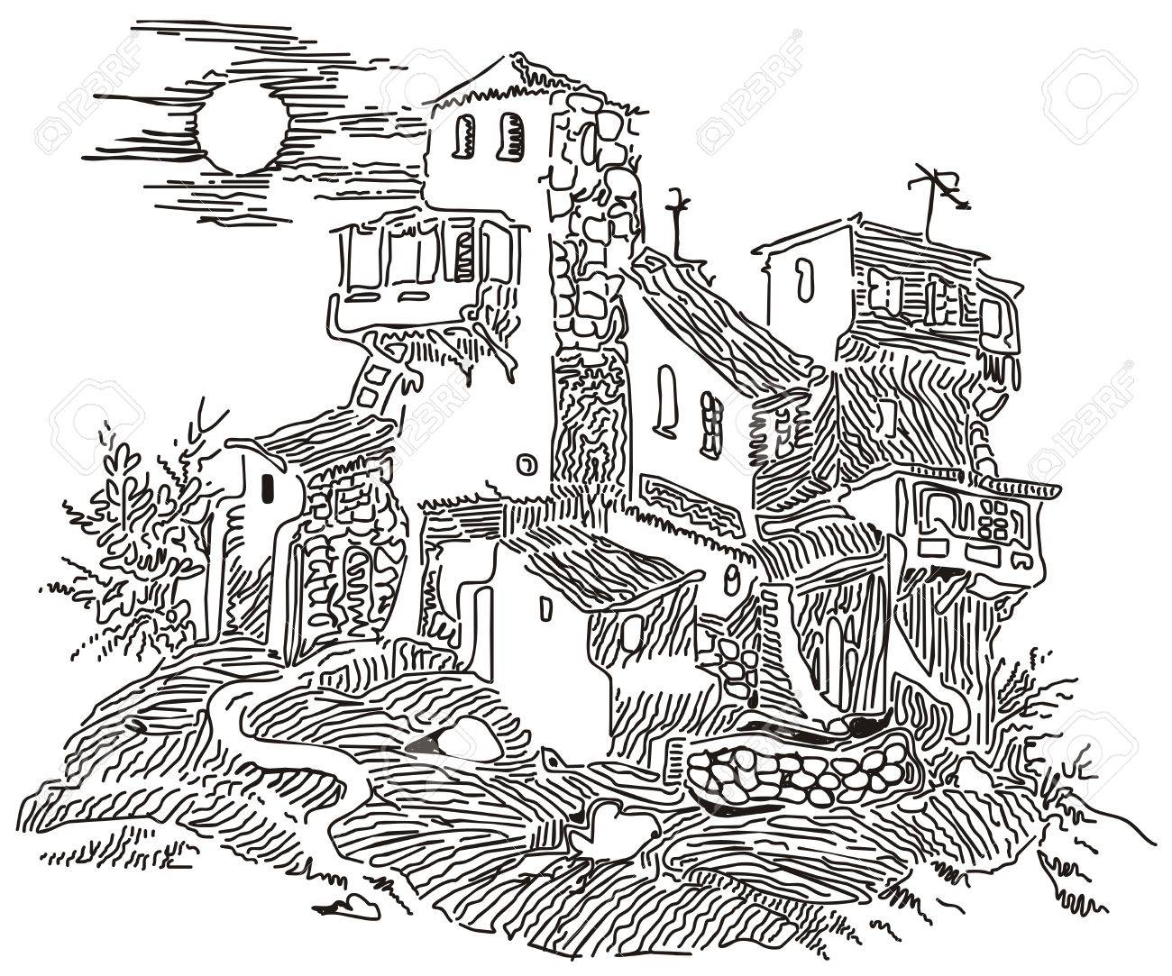 old house on the hill Stock Vector - 7810440