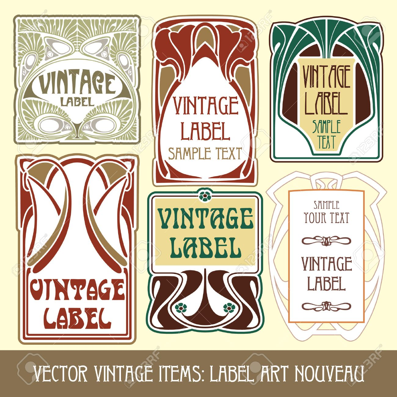 vector vintage items: label art nouveau Stock Vector - 8621439