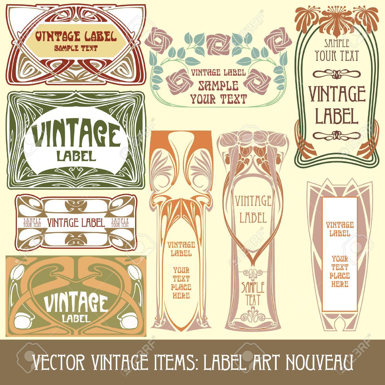 vector vintage items: label art nouveau Stock Vector - 8621440