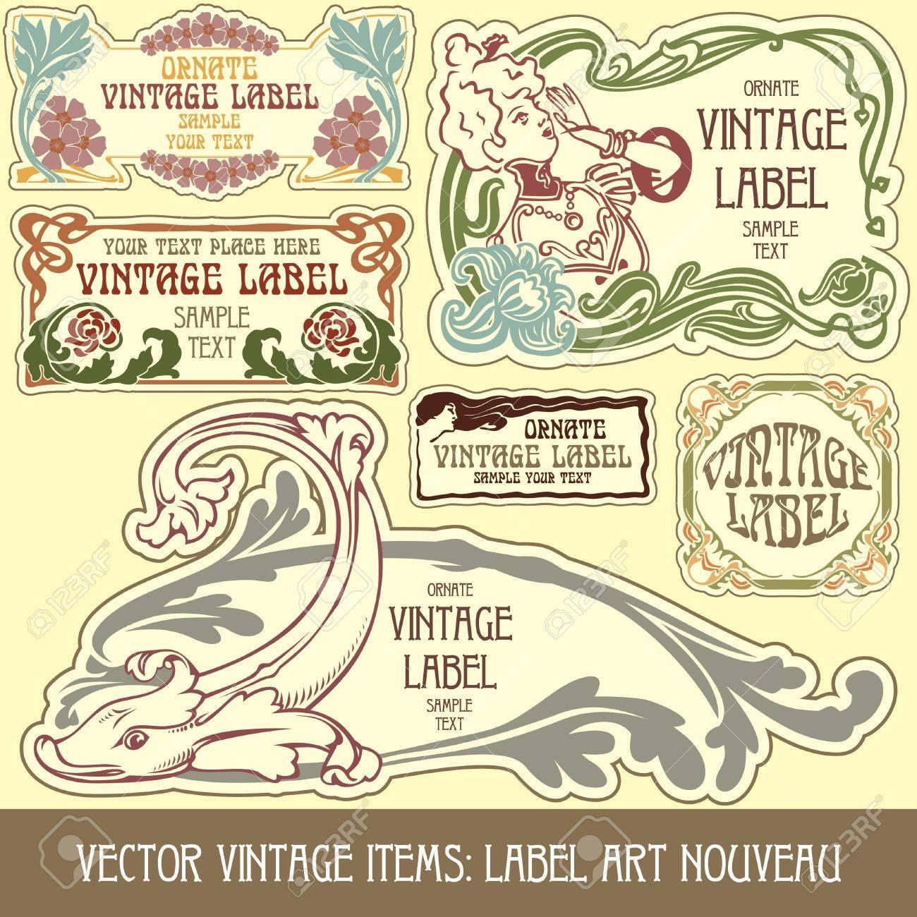 vintage items: label art nouveau Stock Vector - 10475517
