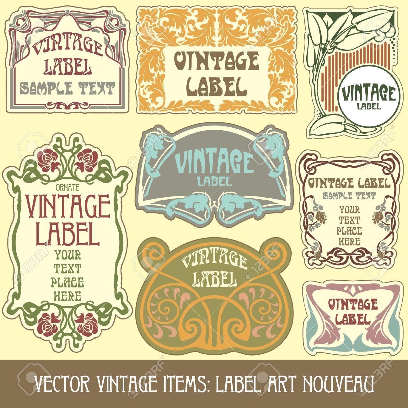 Art deco ornaments - Art Nouveau Ornaments Vintage Items Label Art Nouveau Illustration