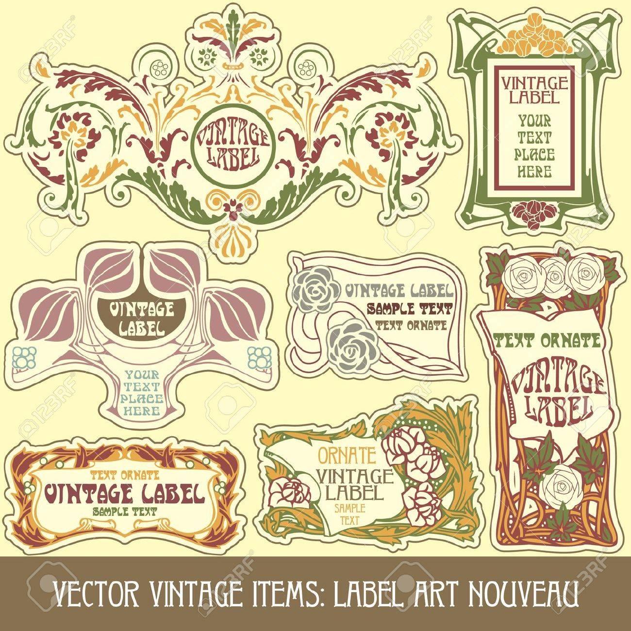 vector vintage items: label art nouveau Stock Vector - 10843696