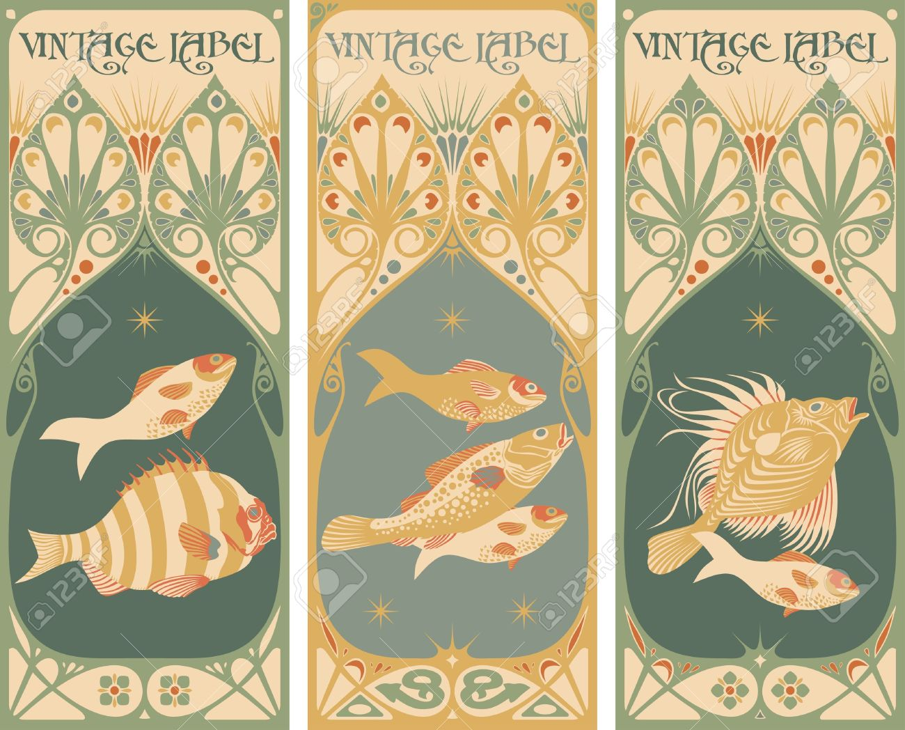 vintage labels: fish Stock Vector - 10843703