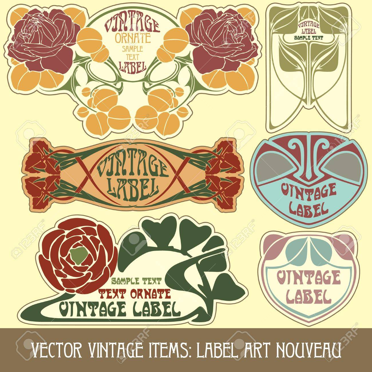 vector vintage items: label art nouveau Stock Vector - 11666864