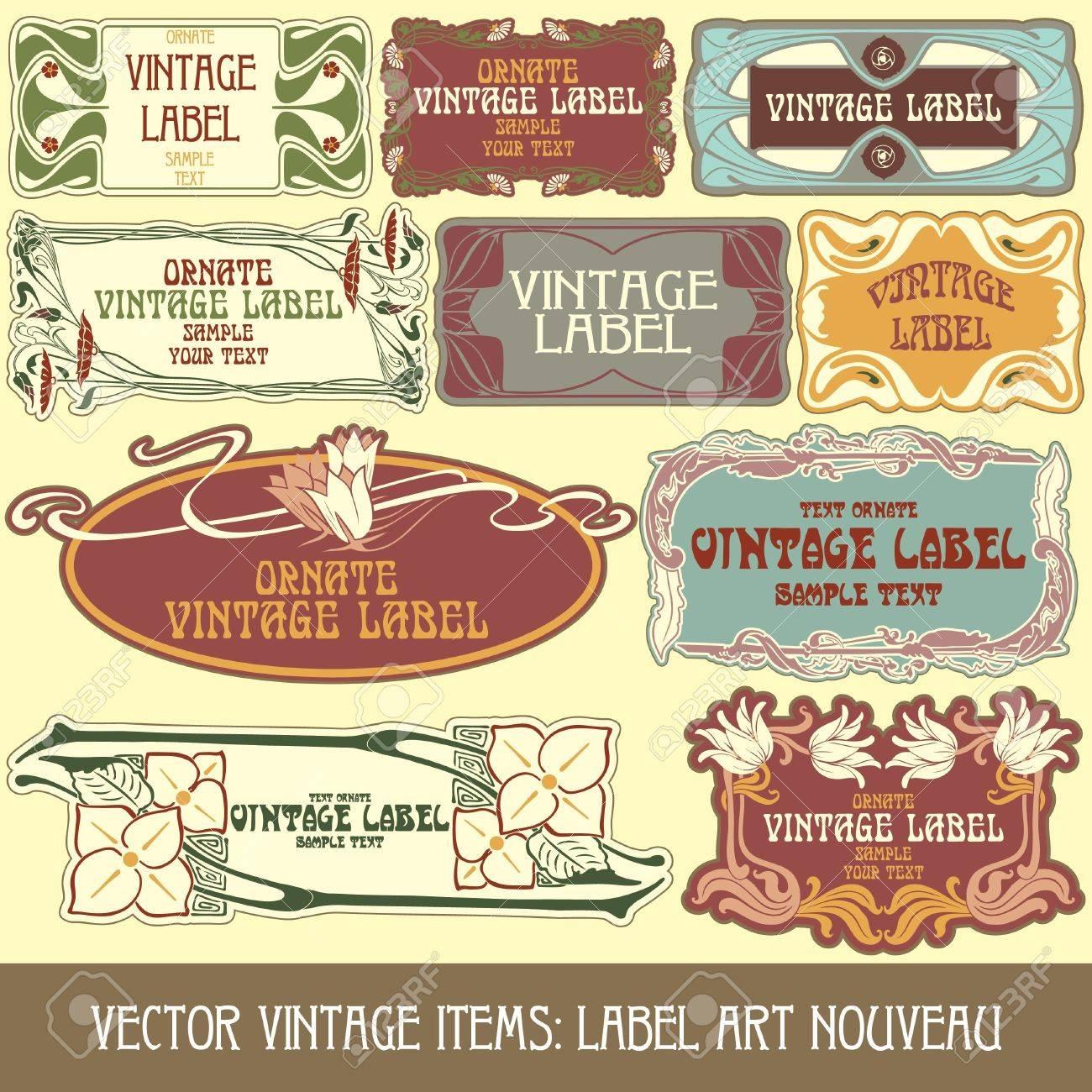 vintage items: label art nouveau Stock Vector - 15073442