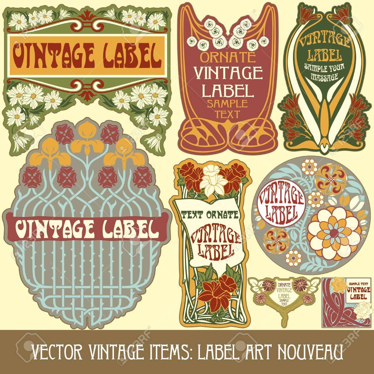 vintage items  label art nouveau Stock Vector - 16212700